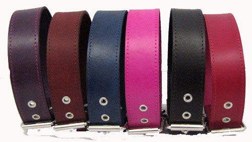 "1 3/4"" Wide Plain Leather Collars"