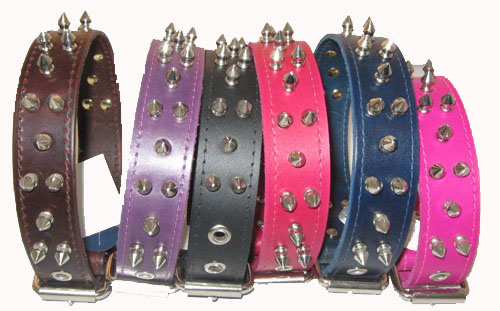 "1 1/4"" Wide Spiked Leather Collars"