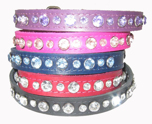 "3/4"" Wide Jeweled Leather Collars"