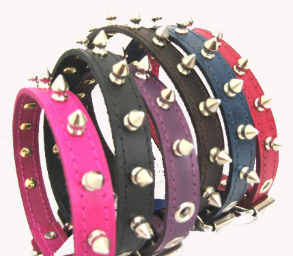 "3/4"" Wide Spiked Leather Collars"