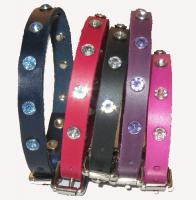 "1/2"" Wide Jeweled Leather Collars"