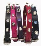 "1/2"" Wide Spiked and Jeweled Leather Collars"