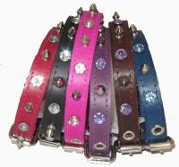 "3/4"" Wide Spiked and Jeweled Leather Collars"