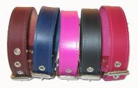 "1 1/4"" Wide Plain Leather Collars"