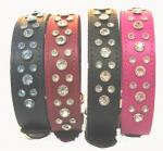 "1 1/4"" Wide Jeweled Leather Collars"