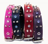 "1 1/4"" Wide Spiked and Jeweled Leather Collars"
