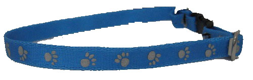 Paw Prints in Light Blue and Reflective Silver